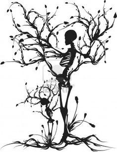 Tree of Life - mother son skeleton