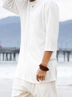 White Mens Top Meditation Shirt Yoga Shirt Unisex Lounge | Etsy