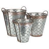 Galvanized Metal Olive Bucket Set with Handles