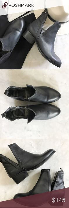 """Jeffrey Campbell Oriley cutout ankle boot * Super sleek ankle boot  * soft, rich leather, * cutout detailing along each side * pull-loop at the back for easy on/off. * Size 6.5 * Black * In pre loved condition, scuffs to soles, heels where worn * Heel height 1.5"""" approx Jeffrey Campbell Shoes Ankle Boots & Booties"""