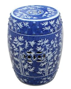 New Arrival From Jingdezhen China: Tall Chinese Blue & White Porcelain Bamboo Garden Stool * Only Few Remaining Ceramic Garden Stools, Ceramic Stool, Ceramic Pots, Modern Ceramics, White Ceramics, White Stool, Chinese Garden, Asian Garden, Blue Garden