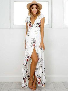 Women Maxi Dress Floral Tea Dress V Neck Short Sleeve Split Wrap Dress Mode Outfits, Dress Outfits, Casual Dresses, Summer Dresses, Maxi Dresses, Women's Casual, Long Dresses, Bridesmaid Dresses, Summer Outfits