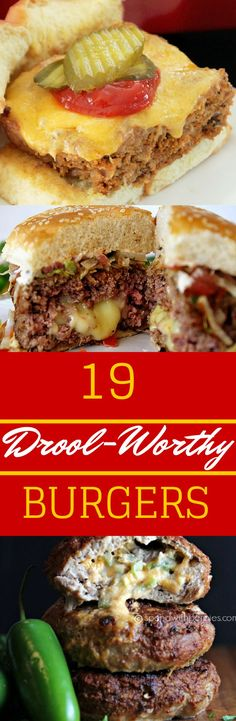 19 Drool-Worthy Burgers for Grilling Season! (ground beef recipes for dinner salisbury steak) Burger Recipes, Grilling Recipes, Meat Recipes, Cooking Recipes, Burger Ideas, Recipies, Burger And Fries, Beef Burgers, Gula