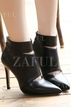 Hollow Out Zipper Pointed Toe Short Boots BLACK: Boots | ZAFUL