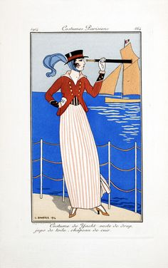 """Fashion Plate from """"Costumes Parisiens"""": 1914, Yachting Ensemble: Cloth jacket, linen skirt, leather hat."""
