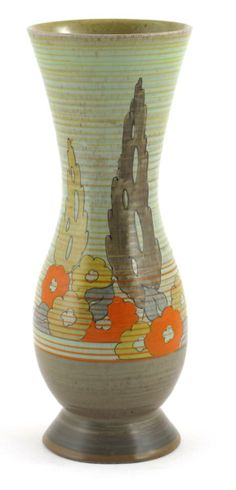 'Orange Capri-Yuan' a Clarice Cliff vase, painted in colours on a Goldstone ground under pale green printed and painted mark, re