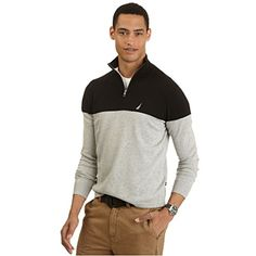 Nautica Men's Big & Tall Blocked Quarter Zip Sweater           $ 89.50 Polo Sweaters Product Features 100% cotton Ribbed collar, cuffs, and hem. Machine wash cold, tumble dry low Lightweight cotton jersey knit layers easily. Imported. Polo Sweaters Product Description A go-to style for work or play, our big & tall quarter-zip sweater always looks polished–especially with bold, blocked detail. Please note that measurements may […]  http://www.freesweaters.com/nautica-mens-bi..