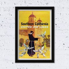 1970s Southern California // United Air Lines // Artist: Stan Galli // High Quality Fine Art Reproduction Giclée Print / Vintage Poster by WiredWizardWeb on Etsy