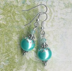 FREE SHIPPINGAqua Turquoise Pearl and Austrian by myjuliejewels, $7.95
