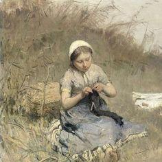Girl Knitting, Bernardus Johannes Blommers, 1885 - 1886 - Still Life-Collected Works of LJ_French - All Rijksstudio's - Rijksstudio - Rijksmuseum