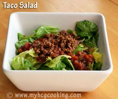 Healthy recipe of the day: Taco Salad! This site is actually for the HCG diet, but you don't need to be on it to steal a few of these healthy recipes! Dieta Hcg, Sloppy Joe, Hcg Diet Recipes, Healthy Recipes, Hcg Meals, Healthy Options, Clean Recipes, Drink Recipes, Beef Recipes