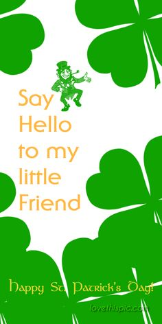 Say Hello  funny humor pinterest pinterest quotes leprechaun irish saint patrick's day st. patrick's day quotes day hello little friend