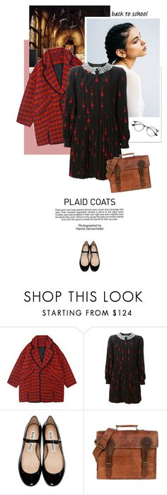 """Plaid Coats: School Style"" by pippi-loves-music ❤ liked on Polyvore featuring Yves Saint Laurent, Acne Studios, Industrie, Ray-Ban and plaidcoats"