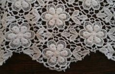 """Vintage Schiffli Embroidered Lace Table Runner Fine White 75"""""""