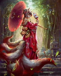 Kitsune Mobius Final fantasy- Tamamo no mae by yuchenghong on DeviantArtArtStation - Tamamo no mae, Yu Cheng Hong A legendary fox spirit in Japanese mythologyJin in her Kitsune form.but she only has three tails so far.Yu Cheng Hong is a professional Anime Fantasy, Fantasy Kunst, Fantasy Rpg, Fantasy Artwork, Anime Art Girl, Manga Art, Anime Girls, Mobius Final Fantasy, Tamamo No Mae