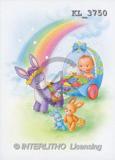 Interlitho, Lorella, BABIES, paintings, donkey, rainbow(KL3750,#B#) bébé, illustrations, pinturas