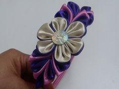 Flores kanzashi en tela para diademas, video 579, Flower satin ribbon - DIY - YouTube