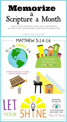 Memorize scriptures using these fun printables with easy-to-remember images!  Would be perfect for families to work on each month!