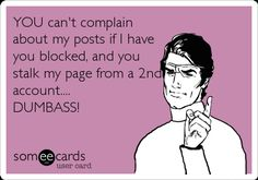 Free and Funny Breakup Ecard: YOU can't complain about my posts if I have you blocked, and you stalk my page from a account. Create and send your own custom Breakup ecard. Quotes To Live By, Me Quotes, Funny Quotes, Jealousy Quotes, Bitch Quotes, Joker Quotes, Truth Quotes, Fact Quotes, Stalker Quotes