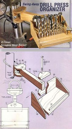 Drill Press Organizer - Drill Press Tips, Jigs and Fixtures - Woodwork, Woodworking, Woodworking Plans, Woodworking Projects Workshop Design, Workshop Storage, Workshop Organization, Diy Workshop, Tool Storage, Woodworking Workshop, Woodworking Jigs, Woodworking Projects, Drill Press Table