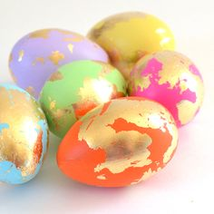 Vibrant paint and gold leaf Easter Eggs