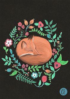 Fox print illustration painting poster flower art от AbbieImagine