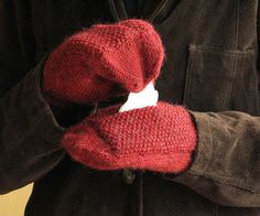 Sniffle Mitts | 19 Impossibly Clever Knitting And Crochet Patterns... Note: Also, if you put the pocket in both mittens, you can insert hand warmers in them for extended outdoor fun.