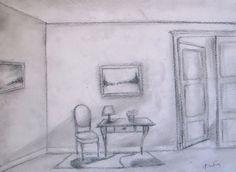Office Waiting Room  Original Charcoal Drawing  9x12 by VESNAsART
