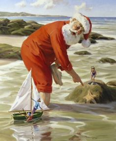 santa on beach with elves | Tidal Surprise - canvas giclee print | Santa Claus Figurines and Hand ... Christmas Scenes, Noel Christmas, Father Christmas, Christmas Pictures, Vintage Christmas, Xmas, Winter Christmas, Nautical Christmas, Tropical Christmas