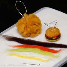 Hamburger - FELTasticFun Needle Felting DIY Kit ($20) for Beginner IV Project Time: 60-90 minues © 2012 FELTasticFashion: DO-IT-YOURSELF