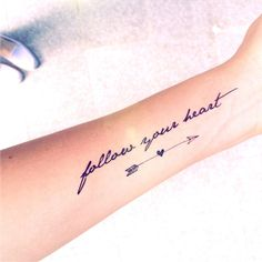 "2pcs ""Follow your heart"" quote and arrow tattoo InknArt Temporary... ($3.90) ❤ liked on Polyvore featuring accessories, body art, tattoos, tattoos and piercings, beauty and tatto"
