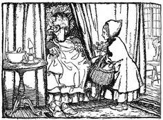 'O Grandmother, what big ears you  got,' she said. Little Red Riding Hood illustrations by Arthur Rackham
