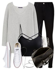 """Sem título #2022"" by rebeca-styles ❤ liked on Polyvore featuring AG Adriano Goldschmied, Violeta by Mango, Converse, Yves Saint Laurent, Topshop, Monica Vinader and Forever 21"