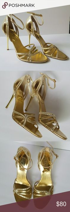 GUESS BY MARCIANO GOLD HEELS Beautiful Gold Heels!! worn once in perfect condition like new size store price $120 Guess by Marciano Shoes Heels