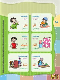 Arabic Language, English Language, Arabic Verbs, Indonesian Language, Action Verbs, English Sentences, Arabic Alphabet, Learning Arabic, Learning Colors