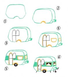 How to draw a caravan Doodle Drawings, Easy Drawings, Drawing Sketches, Bullet Journal Art, Bullet Journal Inspiration, Easy Doodle Art, Simple Doodles, Illustration, Drawing For Kids