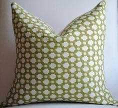 Beautiful Decorative Pillow Cover-18x18-COTTON-Betwixt-Grass/Ivory-Celerie Kemble-Throw Pillow-Accent Pillow. $52.00, via Etsy.