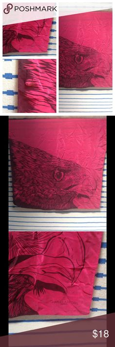 Silk Charles Jourdan Eagle Scarf ✨I am open to reasonable offers! ✨I would prefer to sell and not trade. ✨Save by bundling! 100% Silk hot pink scarf with Eagle detail.  See photos for small tear. Charles Jourdan Accessories Scarves & Wraps