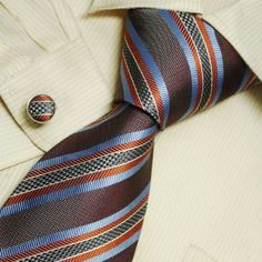 Brown striped designer mens orange blue stripes holiday gifts fashion necktie cufflinks set 5015