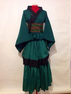 Full Length Kimono Dress Set with Bustle in Forest by skycreation, $105.00