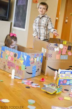 Let's turn up the heat on box decorating with these 4 simple tips! Turn box decorating into a full on, long lasting toddler activity using these easy ideas. Outdoor Games For Preschoolers, Fun Activities For Toddlers, Rainy Day Activities, Indoor Activities, Infant Activities, Indoor Games, Summer Activities, Family Activities, Preschool Painting
