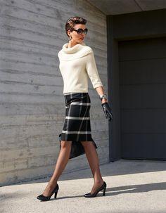 Karorock in der Farbe schwarz / wollweiß - elfenbein - schwarz, weiß - im MADELEINE Mode Onlineshop