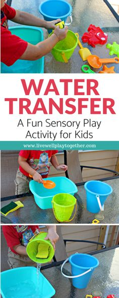 Water Transfer Activity with Sponges: Easy Toddler STEM Water Play - Live Well Play Together Best Picture For space activities for kids math For Your Taste You are looking for something, and it is goi Water Play Activities, Summer Activities For Kids, Sensory Play, Science For Kids, Infant Activities, Preschool Activities, Play Activity, Sensory Bins, Outdoor Activities