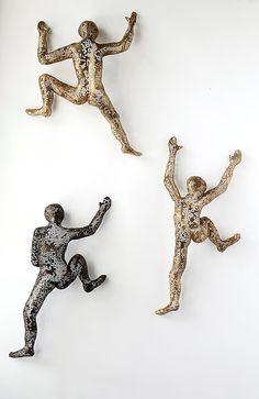 Metal art  Climbing man Sculpture  wall hanging  wire by nuntchi