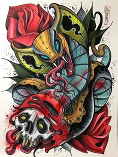 This is a 12 x 16 illustration done by David Tevenal. Mixed media on watercolor paper. This will ship securely and to destinations in the United St. Tatto Old, Tatoo Art, Color Tattoo, Tattoo Sketches, Tattoo Drawings, Body Art Tattoos, Graffiti Art, Graffiti Wallpaper, Traditional Japanese Tattoos