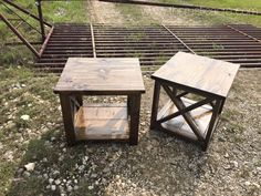 Custom Built Rustic X Bar End Tables. Built by The Rustic Acre in College Station, TX.