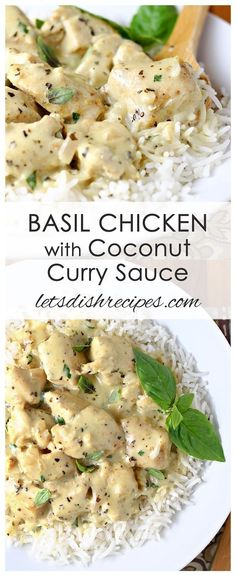 Basil Chicken with Coconut Curry Sauce Recipe: Tender chunks of chicken are simmered in a coconut milk based sauce with plenty of basil and Indian spices. #curry #chicken