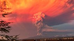 Ash plume + anvil cloud + sunset = amazing view. Chile's Calbuco #Volcano erupts for the first time in over 42 years.  Photo Credit: @elrafaarenas via Twitter #ItsAmazingOutThere