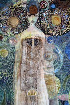 """Lady of the Sea"" detail Gordana Brelih Free Motion Embroidery, Free Machine Embroidery, Embroidery Fabric, Fabric Art, Textile Fiber Art, Textile Artists, Textiles, Stitch Witchery, Thread Painting"