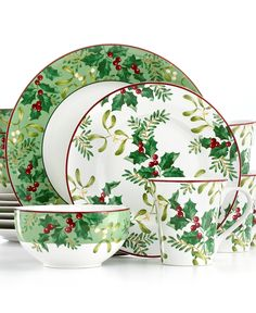 222 Fifth Christmas Foliage 16-Pc. Set, Service for 4 - Dinnerware - Dining & Entertaining - Macy's